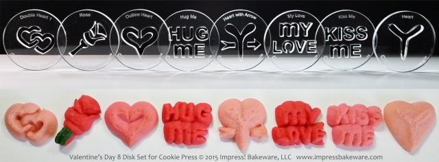 Valentine's Day 8 Disk Set for Cookie Press © 2015 Impress! Bakeware, LLC spritz.jpg