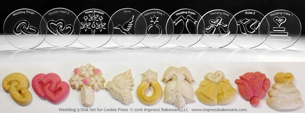 Wedding 9 Disk Set for Cookie Press © 2016 Impress! Bakeware, LLC spritz.jpg