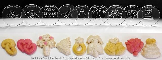 Wedding 9 Disk Set for Cookie Press © 2016 Impress! Bakeware, LLC spritz.jpg
