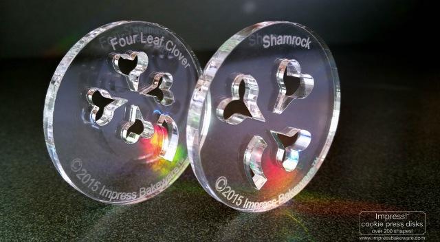 Shamrock and Four Leaf Clover Cookie Press Disks © 2017 Impress! Bakeware, LLC spritz.jpg