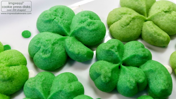 Shamrock & Four Leaf Clover Cookies © 2017 Impress! Bakeware, LLC spritz cookie press c.jpg