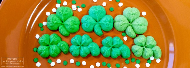 Shamrock & Four Leaf Clover Cookies © 2017 Impress! Bakeware, LLC spritz cookie press f.jpg