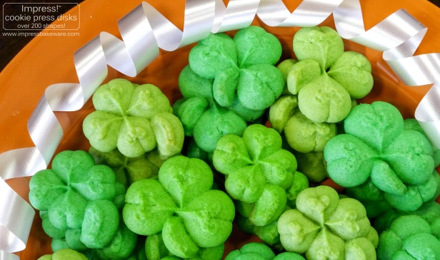 Shamrock & Four Leaf Clover Cookies © 2017 Impress! Bakeware, LLC spritz cookie press j.jpg
