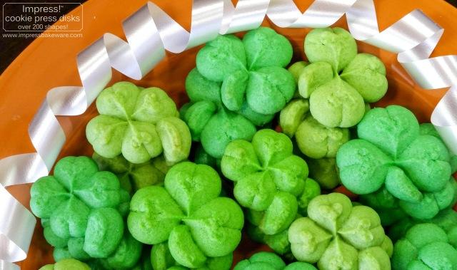 Shamrock & Four Leaf Clover Cookies © 2017 Impress! Bakeware, LLC spritz cookie press j.jpg