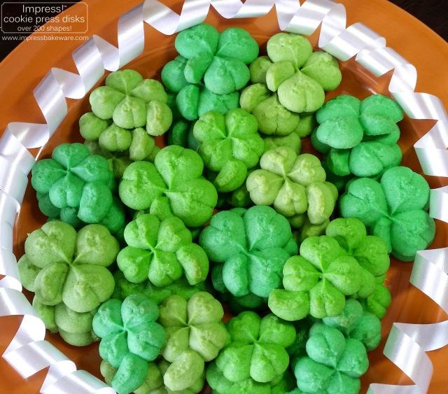 Shamrock & Four Leaf Clover Cookies © 2017 Impress! Bakeware, LLC spritz cookie press k.jpg