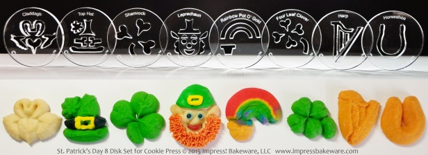 St. Patrick's Day 8 Disk Set for Cookie Press © 2015 Impress! Bakeware, LLC spritz.jpg
