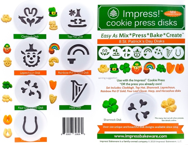 St. Patrick's Day Cookie Press Disk Set spritz © 2019 Impress! Bakeware, LLC