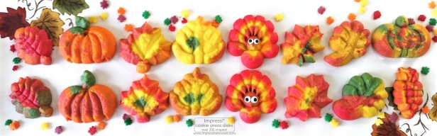 a Colorful Fall Leaves, Turkeys, and Pumpkins cookie press spritz W © 2017 Impress! Bakeware, LLC.jpg