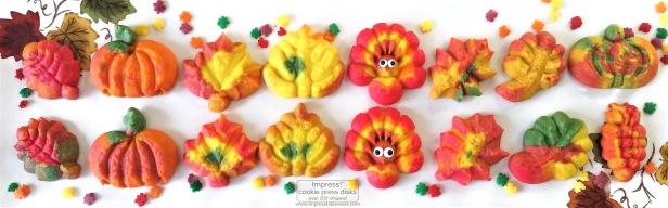 a Colorful Fall Leaves, Turkeys, and Pumpkins cookie press spritz W © 2017 Impress! Bakeware, LLC.jpg