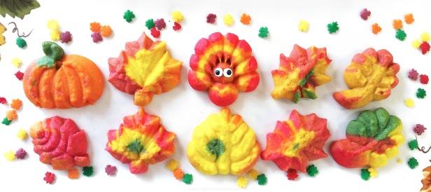 b Colorful Fall Leaves, Turkeys, and Pumpkins cookie press spritz LWM © 2017 Impress! Bakeware, LLC