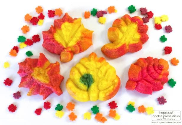 c Colorful Fall Leaves, Turkeys, and Pumpkins cookie press spritz W © 2017 Impress! Bakeware, LLC