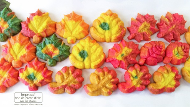 Colorful Fall Leaves, Turkeys, and Pumpkins cookie press spritz W © 2017 Impress! Bakeware, LLC.jpg