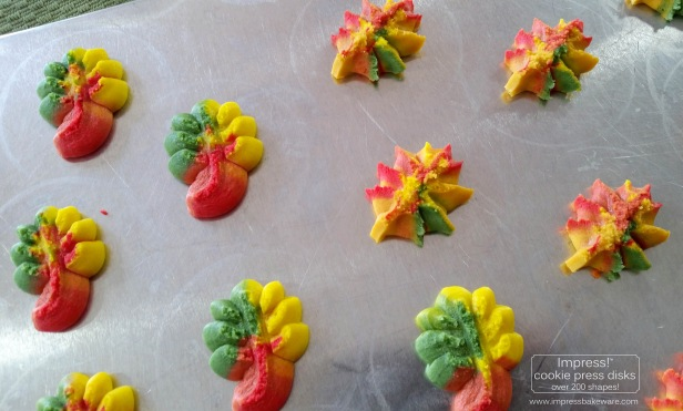 f Colorful Fall Leaves, Turkeys, and Pumpkins cookie press spritz W © 2017 Impress! Bakeware, LLC.jpg