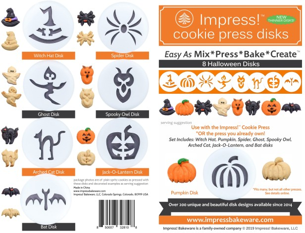 Halloween Cookie Press Disk Set spritz © 2019 Impress! Bakeware, LLC