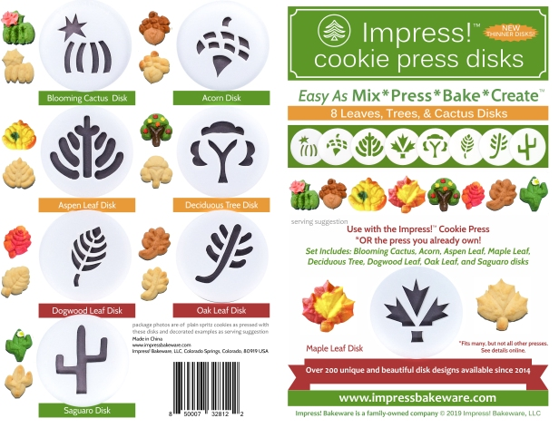 Leaves Cookie Press Disk Set spritz © 2019 Impress! Bakeware, LLC