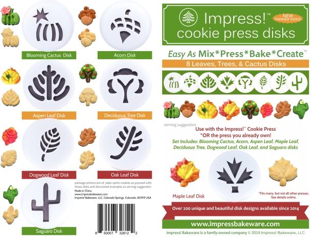 Leaves Cookie Press Disk Set spritz © 2019 Impress! Bakeware, LLC