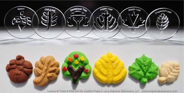 Leaves & Trees 6 Disk Set for Cookie Press © 2014 Impress! Bakeware, LLC spritz