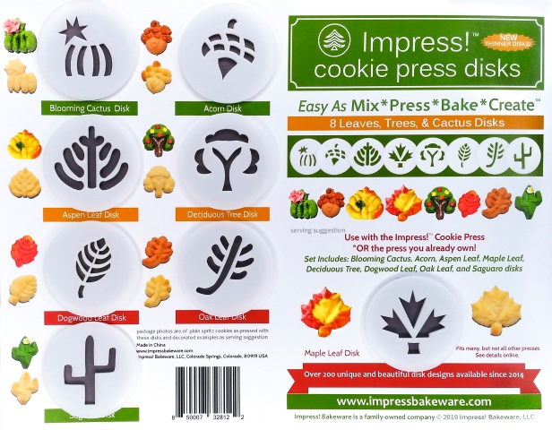 Leaves, Trees & Cactus Cookie Press Disk Set spritz © 2019 Impress! Bakeware, LLC