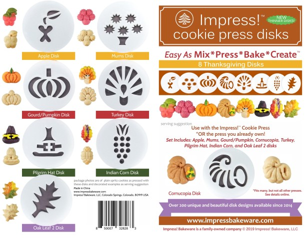 Thanksgiving Cookie Press Disk Set spritz © 2019 Impress! Bakeware, LLC