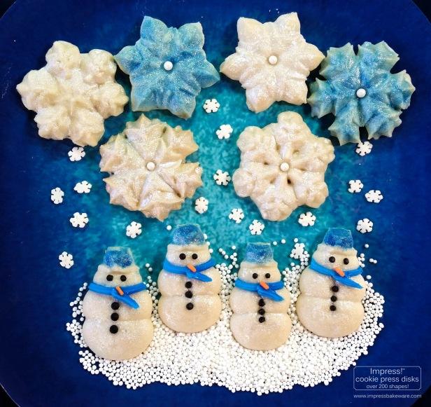 a Glazed Shimmering Snowman & Snowflake Cookies cookie press spritz © 2017 Impress! Bakeware, LLC.jpg