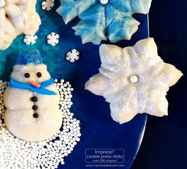 ab Glazed Shimmering Snowman & Snowflake Cookies cookie press spritz © 2017 Impress! Bakeware, LLC
