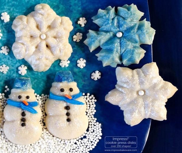 ac Glazed Shimmering Snowman & Snowflake Cookies cookie press spritz © 2017 Impress! Bakeware, LLC.jpg