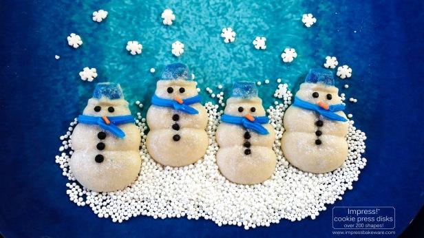 b Glazed Shimmering Snowman & Snowflake Cookies cookie press spritz © 2017 Impress! Bakeware, LLC.jpg