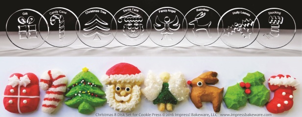 Christmas 8 Disk Set for Cookie Press © 2016 Impress! Bakeware, LLC