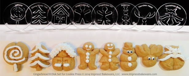 Gingerbread 8 Disk Set for Cookie Press © 2014 Impress! Bakeware, LLC spritz
