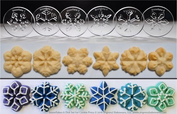 Snowflakes 6 Disk Set for Cookie Press © 2016 Impress! Bakeware, LLC Spritz