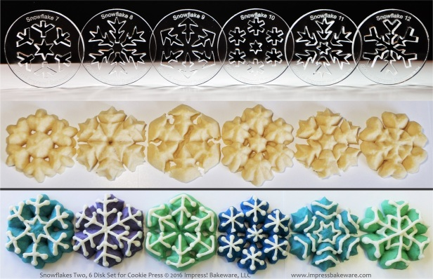 Snowflakes Two, 6 Disk Set for Cookie Press © 2016 Impress! Bakeware, LLC spritz