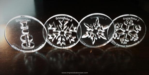 w Snowman & Snowflake cookie Press Disks spritz © 2017 Impress! Bakeware, LLC.jpg
