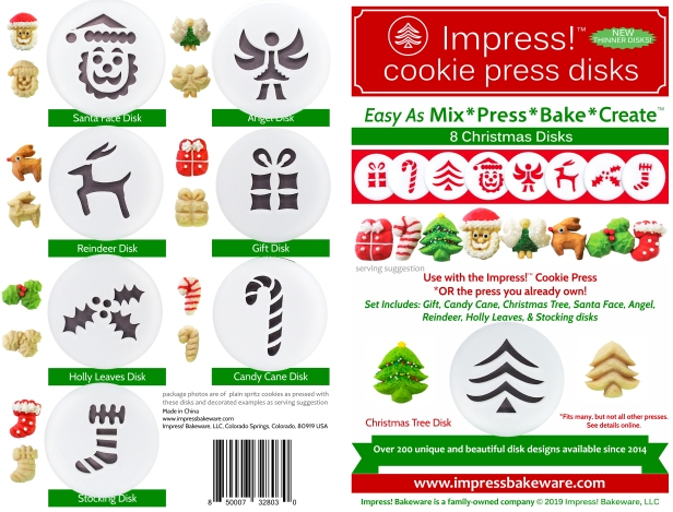 Christmas Cookie Press Disk Set spritz © 2019 Impress! Bakeware, LLC