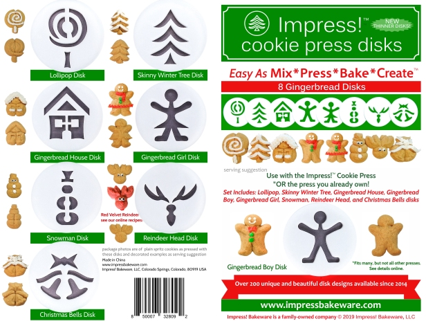 Gingerbread Cookie Press Disk Set spritz © 2019 Impress! Bakeware, LLC