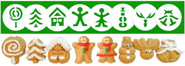 Gingerbread Cookie Press Disk Set spritz © 2019 Impress! Bakeware, LLC H