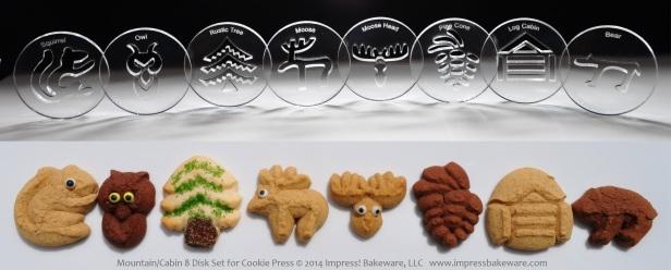 Mountain Cabin 8 Disk Set for Cookie Press © 2014 Impress! Bakeware, LLC spritz