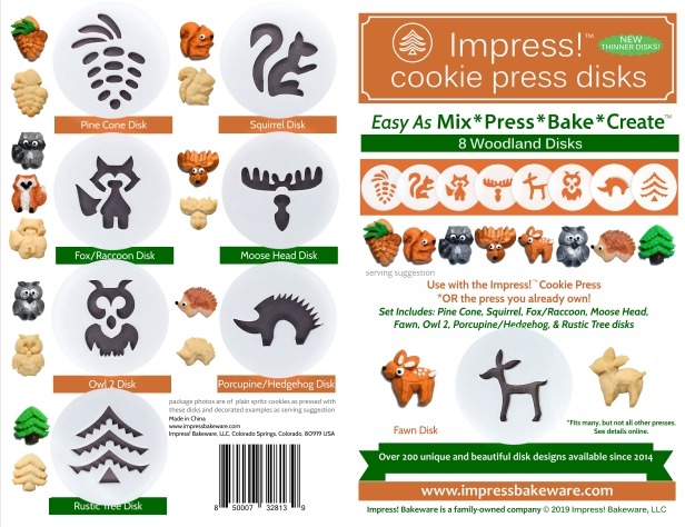 Woodland Cookie Press Disk Set spritz © 2019 Impress! Bakeware, LLC