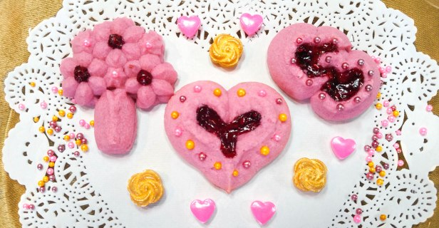 aa Raspberry Thumbprint Valentine_s Spritz Cookies cookie press © 2018 Impress! Bakeware, LLC