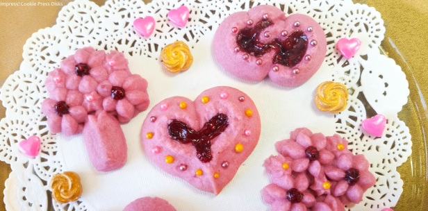bb Raspberry Thumbprint Valentine's Spritz Cookies cookie press w © 2018 Impress! Bakeware, LLC.jpg