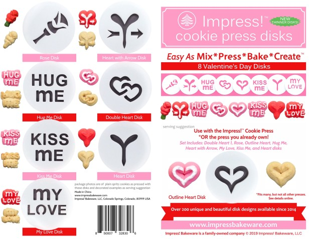 Valentine's Day Cookie Press Disk Set spritz © 2019 Impress! Bakeware, LLC