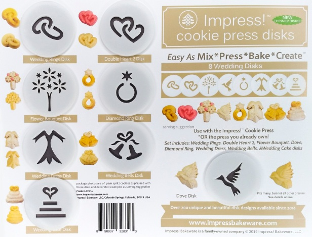 Wedding Cookie Press Disk Set spritz © 2019 Impress! Bakeware, LLC