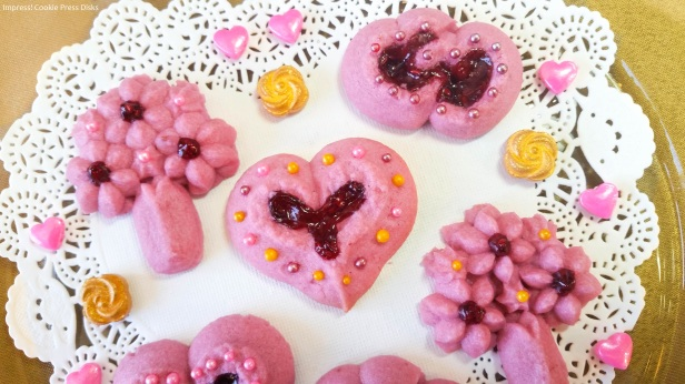 z Raspberry Thumbprint Valentine's Spritz Cookies cookie press w © 2018 Impress! Bakeware, LLC.jpg