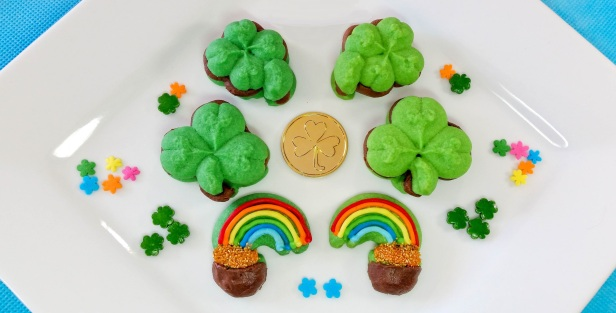 a Chocolate Mint St. Patrick's Day Sandwich Cookies cookie press spritz © 2018 Impress! Bakeware, LLC.jpg