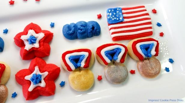 c Patriotic Olympics & Medals Spritz Cookies cookie press spritz w © 2018 Impress! Bakeware, LLC.jpg