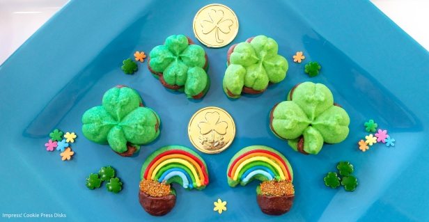 cw Chocolate Mint St. Patrick's Day Sandwich Cookies cookie press spritz © 2018 Impress! Bakeware, LLC.jpg
