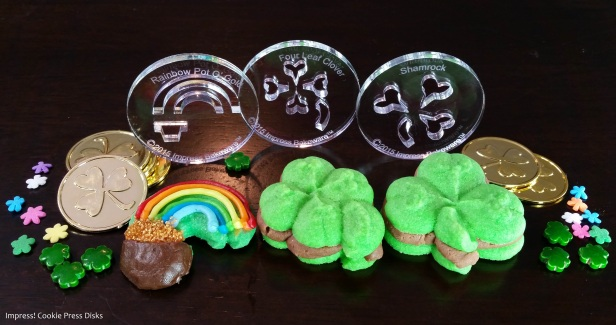 dw Chocolate Mint St. Patrick's Day Sandwich Cookies cookie press spritz © 2018 Impress! Bakeware, LLC.jpg