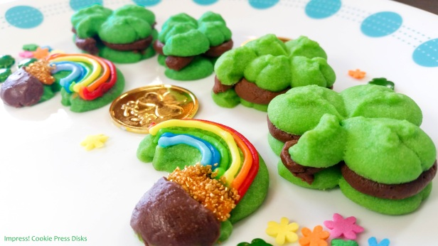 ew Chocolate Mint St. Patrick's Day Sandwich Cookies cookie press spritz © 2018 Impress! Bakeware, LLC.jpg