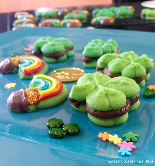 o0w Chocolate Mint St. Patrick's Day Sandwich Cookies cookie press spritz © 2018 Impress! Bakeware, LLC.jpg
