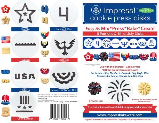 Patriotic Cookie Press Disk Set spritz © 2019 Impress! Bakeware, LLC