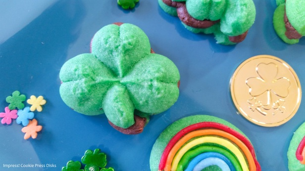 vvw Chocolate Mint St. Patrick's Day Sandwich Cookies cookie press spritz © 2018 Impress! Bakeware, LLC.jpg